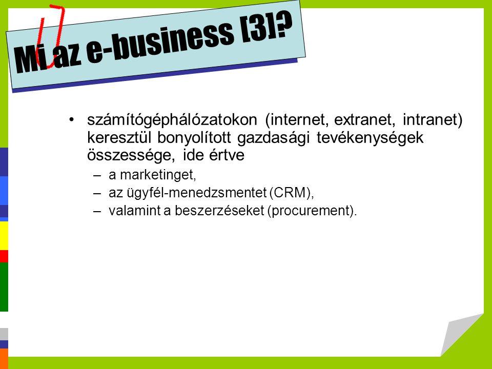 Mi az e-business [3] számítógéphálózatokon (internet, extranet, intranet) keresztül bonyolított gazdasági tevékenységek összessége, ide értve.
